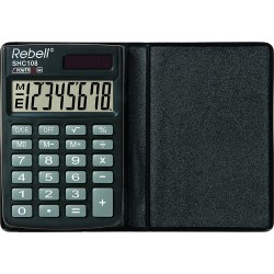 Calculator de buzunar, 8 digits, 88 x 59 x 10 mm, capac din plastic, Rebell SHC108