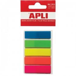 Index Apli ,autoadeziv, plastic, 12 x 45 mm, 5 culori x 25 file