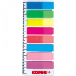 Index Kores, autoadeziv, plastic, 12 x 45 mm, 8 culori x 25 file/culoare