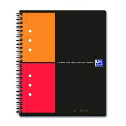 Caiet cu spirala A5 , OXFORD Int. Notebook, 80 file-80g/mp, 10 perf., coperta carton rigid - mate
