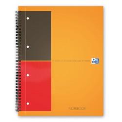 Caiet cu spirala A4 , OXFORD Int. Notebook, 80 file-80g/mp, 4 perf., coperta carton rigid - dictando