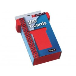 JALEMA T-cards, din hartie, 100buc/set, format 2 - (85 x 48mm, top 60mm) - rosu