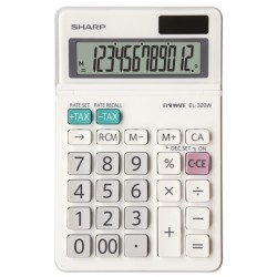 Calculator de birou, 12 digits, 153 x 97 x 18 mm, SHARP EL-320W - alb
