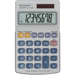 Calculator de buzunar, 8 digits, 116 x 71 x 17 mm, capac din plastic, SHARP EL-250S - gri