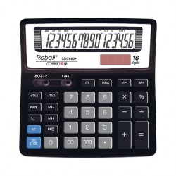Calculator de birou, 16 digits, 156 x 156 x 30 mm, Rebell SDC 660+ - negru