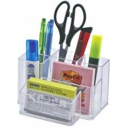Suport plastic pentru accesorii de birou, 6 compartimente, 105 x 85mm, KEJEA - transparent