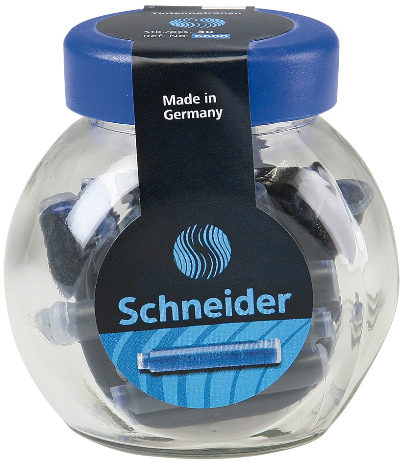 Patroane cerneala SCHNEIDER, 30buc/borcan cu capac plastic - albastru