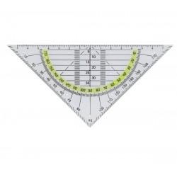 Echer 16 cm, cu raportor 180 grade, plastic transparent, ALCO
