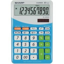 Calculator de birou, 10 digits, 149 x 100 x 27 mm, SHARP EL-M332BBL - gri/bleu