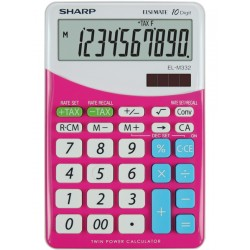 Calculator de birou, 10 digits, 149 x 100 x 27 mm, SHARP EL-M332BBL - gri/roz