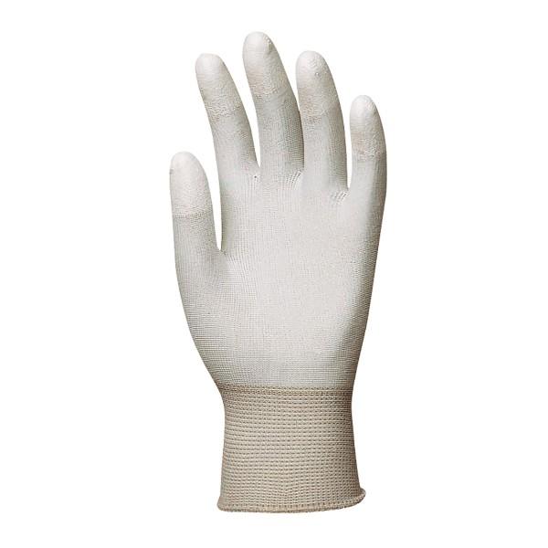 Manusi poliester, albe, cu imersie PU pe degete