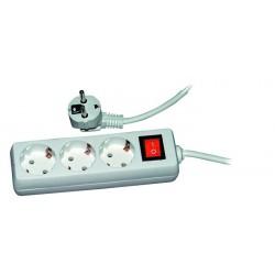 Prelungitor 3 prize, lungime cablu 3 m, schuko, intrerupator