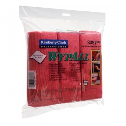 Lavete microfibra Kimberly-Clark Wypall, rosii, 6 bucati/pachet