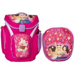Ghiozdan scoala Explorer + sac sport, LEGO Core Line - design roz Friends Cupcake