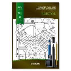 Bloc desen A3, 20 file - 210g/mp, pentru schite creion/marker, AURORA Bristol