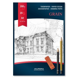 Bloc desen A4, 20 file - 200g/mp, AURORA Grain - carton alb