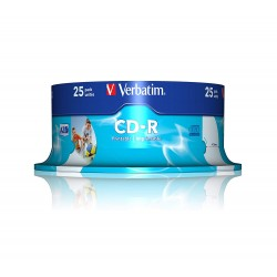 CD-R Verbatim 52X 700MB 25PK Spindle AZO Wide Inkjet Printable