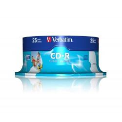 CD-R Verbatim 52X 700MB Spindle AZO Wide Inkjet Printable, 25 buc/set