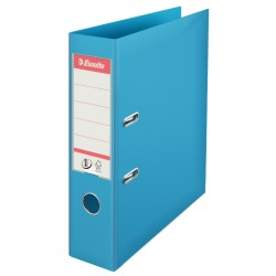 Biblioraft ESSELTE No. 1 Power, A4, plastifiat PP/PP, margine metalica, 75 mm - cyan