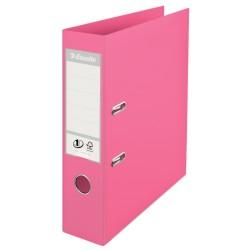 Biblioraft ESSELTE No. 1 Power, A4, plastifiat PP/PP, margine metalica, 75 mm - roz