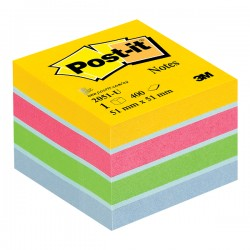 Minicub notite adezive Post-it galben/roz/verde/albastru deschis 400 file/cub