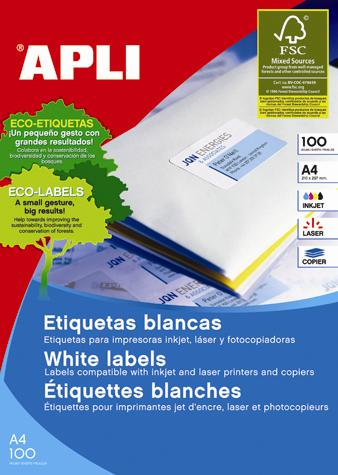 Etichete autoadezive Apli, cu colturi drepte, A4, 70 x 25.4 mm, 3300 bucati, 100 coli/top