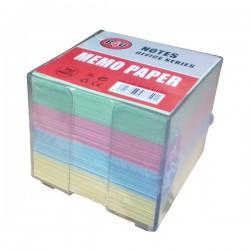 Suport pentru cub hartie, cu 800 file color, 90 x 90 mm, plastic, transparent