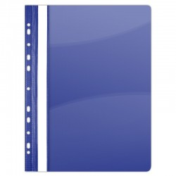 Dosar plastic PVC, cu sina si multiperforatii, 10 buc/set, DONAU - bleumarin