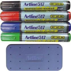 Kit markere tabla de scris+burete magnetic, ARTLINE 517 - Dry safe ink, varf rotund 2.0mm, 4 cul/set