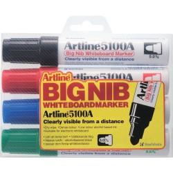 Marker pentru tabla de scris ARTLINE 5100A, corp metalic, varf rotund 5.0mm, 4 culori/set