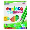 Creioane colorate, hexagonale, 24 culori/cutie, cu guma, CARIOCA Tita Erasable