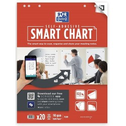 Hartie flichart 60x80mm, OXFORD Smart Chart, repozitionablila, 20coli/top, 90g/mp, Scribzee - velina
