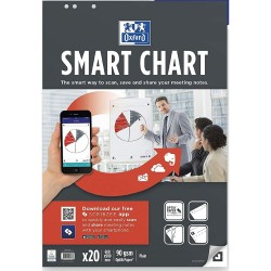 Hartie flipchart 65x98mm, OXFORD Smart Chart, 20coli/top, 90g/mp, Scribzee - velina