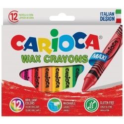 Creioane cerate rotunde, lavabile, 12 culori/cutie, CARIOCA Wax Crayon Jumbo