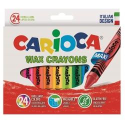 Creioane cerate rotunde, lavabile, 24 culori/cutie, CARIOCA Wax Crayon Jumbo