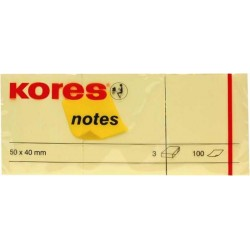 Notite autoautoadezive Kores, 50 x 40 mm, 100 file, 3 bucati/set, galben
