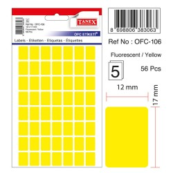 Etichete autoadezive color, 12 x 17 mm, 560 buc/set, Tanex - galben fluorescent