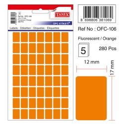 Etichete autoadezive color, 12 x 17 mm, 560 buc/set, Tanex - orange fluorescent