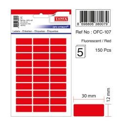 Etichete autoadezive color, 12 x 30 mm, 300 buc/set, Tanex - rosu fluorescent