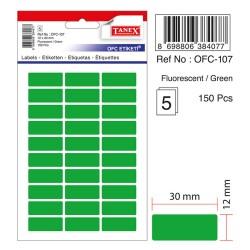 Etichete autoadezive color, 12 x 30 mm, 300 buc/set, Tanex - verde fluorescent