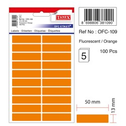 Etichete autoadezive color, 13 x 50 mm, 200 buc/set, Tanex - orange fluorescent