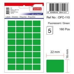 Etichete autoadezive color, 16 x 22 mm, 320 buc/set, Tanex - verde fluorescent