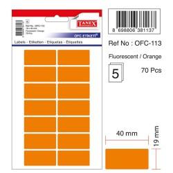 Etichete autoadezive color, 19 x 40 mm, 140 buc/set, Tanex - orange fluorescent