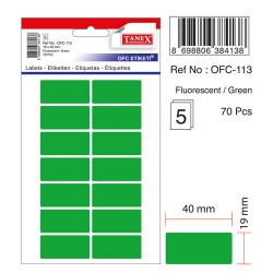 Etichete autoadezive color, 19 x 40 mm, 140 buc/set, Tanex - verde fluorescent