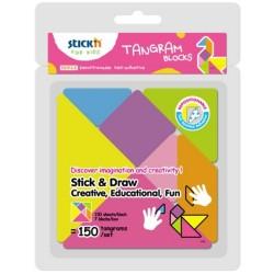 "Figuri geometrice autoadezive, 150buc/block, 7 blocks/blister, Stick""n Tangram-culori si marimi diferite"