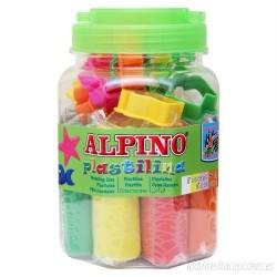 Kit 8 culori x 80gr plastilina + 10 forme modelaj + roller, ALPINO