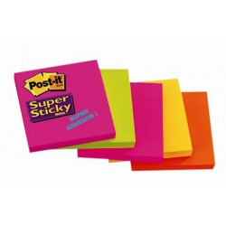 Notite autoadezive Post-it Super Sticky, 76 x 76 mm, 90 file, culori neon asortate, 5 bucati/set