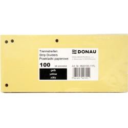 Separatoare carton pentru biblioraft, 190 g/mp, 105 x 235mm, 100/set, DONAU Duo - galben