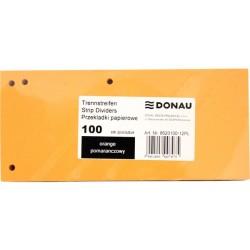 Separatoare carton pentru biblioraft, 190 g/mp, 105 x 235mm, 100/set, DONAU Duo - orange