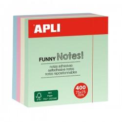 Cub notite adezive Apli, 75 x 75 mm, 400 file, 4 culori pastel
